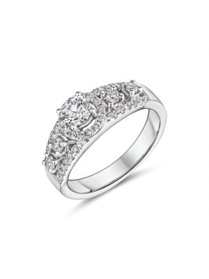 18ct white gold halo style diamond ring with two diamonds at either side