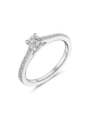18ct white gold single stone solitaire diamond ring with diamond set shoulders