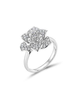 18ct White Gold Flower Shape Eternity Ring
