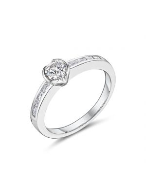 18ct white gold solitaire diamond ring with baguette diamonds on the shoulders