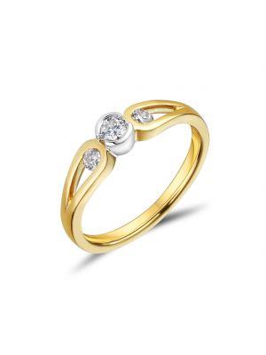 18ct Yellow Gold Bezel Set Three Stone Diamond Engagement Ring