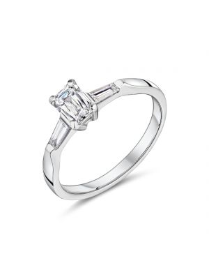 18ct white gold emerald cut diamond engagement ring with tapered baguette diamond on either side