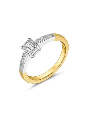 18ct yellow and white gold emerald cut diamond ring with princess cut diamonds on the shoulders