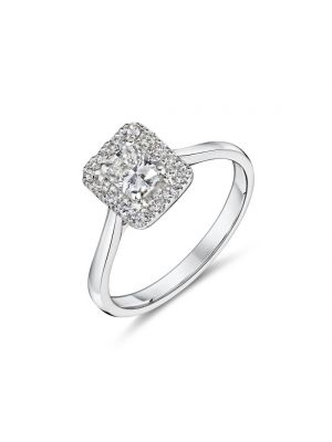 Platinum radiant cut diamond ring with round brilliant diamond surround