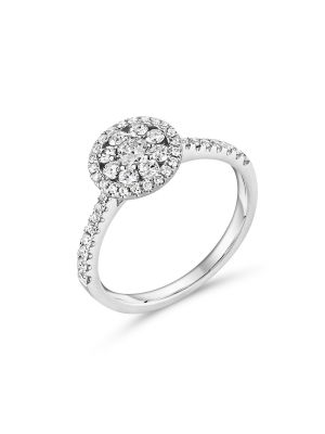18ct white gold diamond halo style engagement ring with diamonds on the shoulder