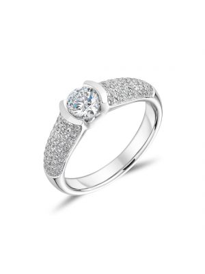 18ct White Gold Diamond Ring with 5 Row Diamond Shoulder