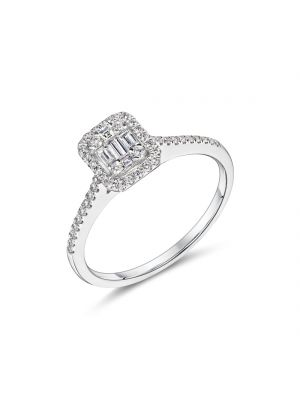 18ct white gold rectangular shape diamond cluster ring with diamonds on the shoulders
