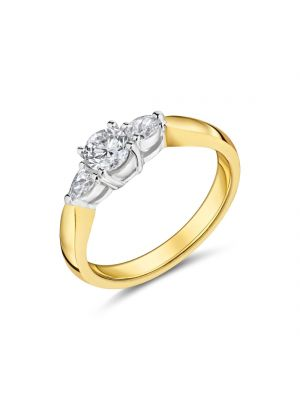 18ct yellow gold solitaire diamond with pear cut diamonds on either side ring