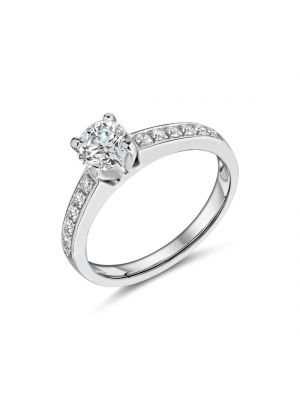 18ct white gold solitaire round brilliant diamond engagement ring with diamond on the shoulders