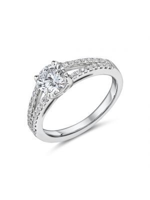 18ct white gold solitaire diamond with split diamond set shoulders ring