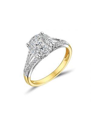 18ct Yellow Gold Split Shoulder Diamond Ring