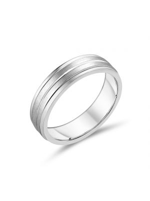 Sterling Silver Gents Detailed Wedding Band