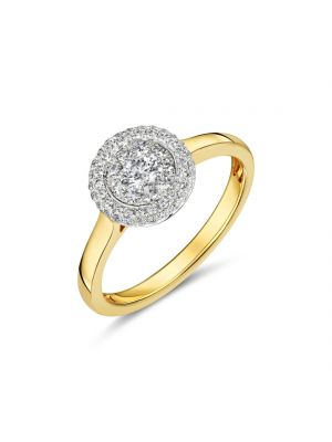 18ct yellow gold diamond cluster ring with diamond surround