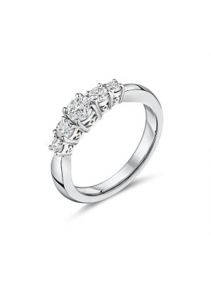 Platinum 5 stone graduated diamond ring