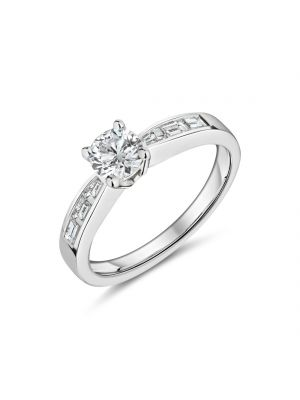 18ct white gold solitaire diamond ring with baguette diamonds on each shoulder ring