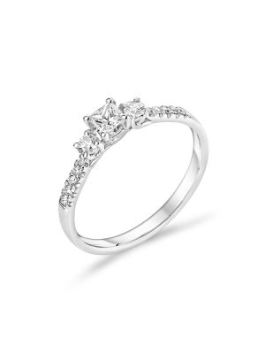 18ct White Gold Three Stone Princess and Round Cut Diamond Ring