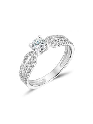 18ct White Gold Round Brilliant and Three Row Diamond Shoulder Engagement Ring
