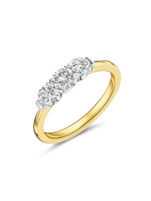 18ct yellow gold 3 stone round brilliant diamond ring