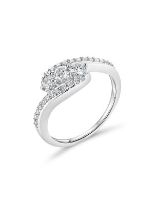 18ct White Gold Three Stone Ring with Twist Design