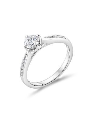 18ct White Gold Single Stone and Tapered Diamond Shoulder Ring