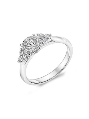 18ct white gold diamond cluster style engagement ring