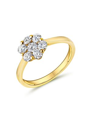 18ct yellow gold diamond cluster style engagement ring