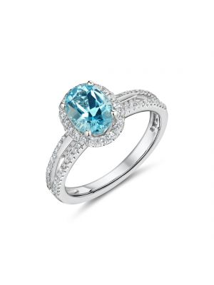 18ct white gold oval blue topaz with diamond surround and spilt diamond shoulders ring