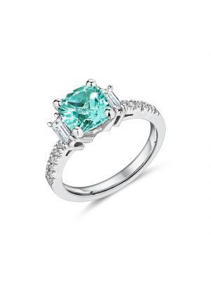 18ct white gold Madagascar Aquamarine and diamond baguette ring with diamond set shoulders