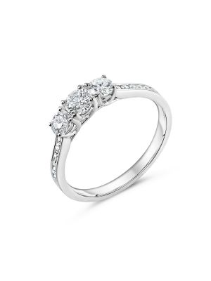 18ct White Gold three Stone Diamond Ring With Channel Set Shoulders