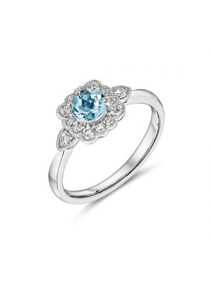 9ct white gold aquamarine and diamond antique style ring