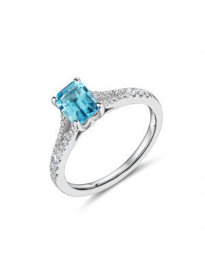 18ct white gold rectangular blue topaz and diamond set split shoulder ring