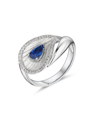 18ct white gold pear shaped sapphire and diamond ring