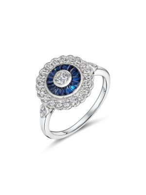 18ct white gold Art Deco style sapphire and diamond ring