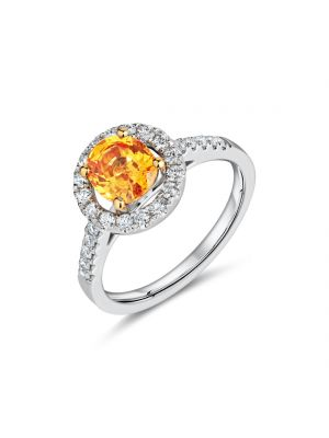 18ct white gold citrine with diamond surround & diamond set shoulders ring