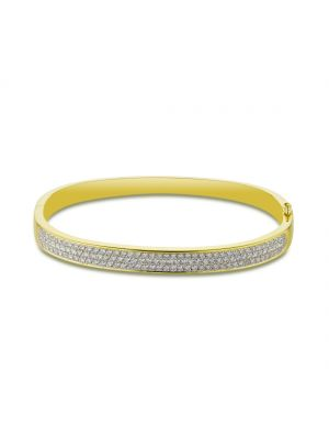 18ct yellow gold three row round brilliant diamond bangle