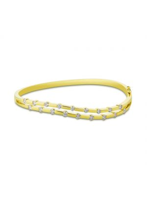 18ct yellow gold wave style diamond bangle