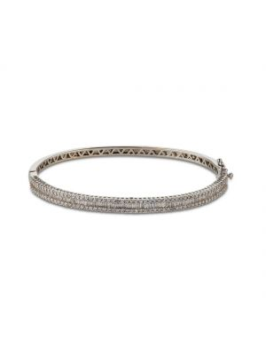 18ct white gold diamond bangle with baquette and round brilliant bangle