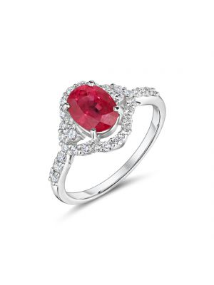 18ct white gold oval ruby and diamond surround halo ring with diamond set shoulders