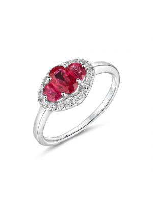 18ct White Gold Diamond Ring with Three Oval Rubies