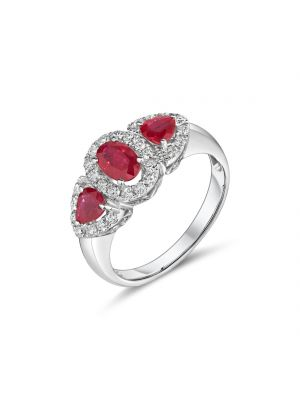 18ct White Gold Three stone Ruby and Diamond Ring
