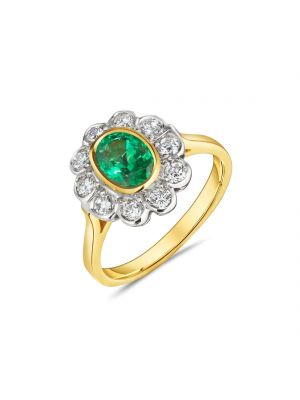 18ct yellow gold oval emerald and diamond surround ring