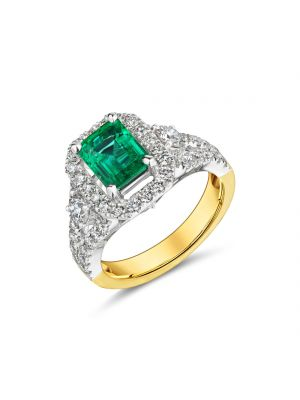 18ct yellow and white gold emerald with diamond halo & split diamond shoulder ring