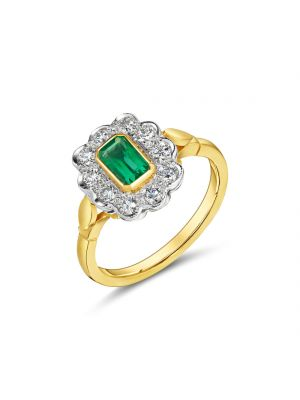 18ct Yellow Gold Diamond and Emerald Ring
