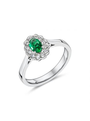 18ct white gold oval emerald with diamond surround ring