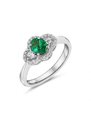 18ct White Gold Diamond and Oval Emerald Ring