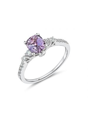 18ct white gold purple sapphire & diamond shoulder ring