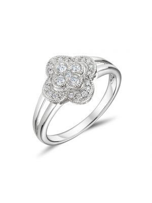 18ct White Gold Flower Shaped Engagement Ring