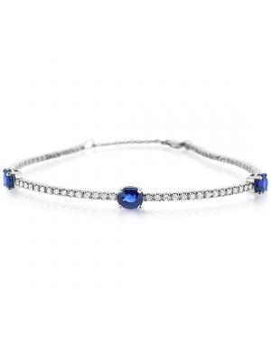 14ct White Gold Sapphire & Diamond Bangle Style Bracelet
