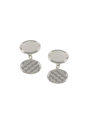Sterling silver oval cufflinks with pattern detail