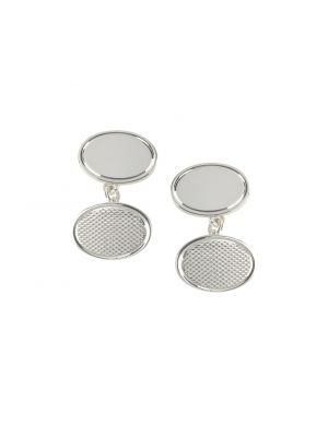 Sterling silver oval cufflinks with patterned detail
